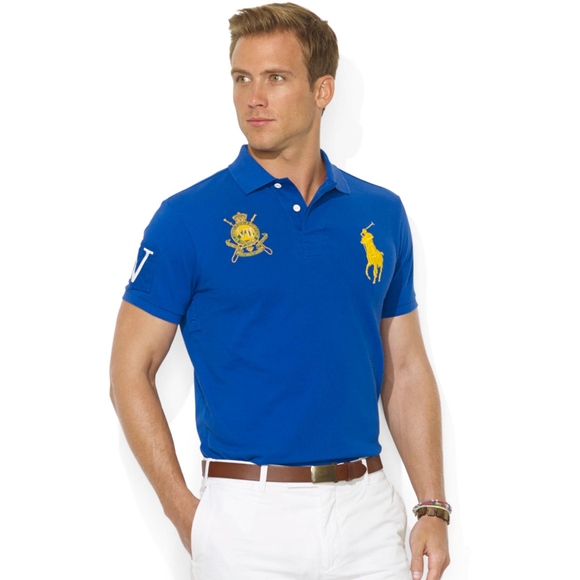 Lyst ralph lauren customfit shortsleeve jockey club polo for Ralph lauren polo club shirts