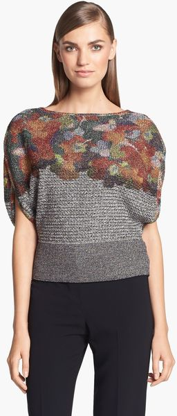 St. John Collection Floral Print Tweed Knit Sweater - Lyst