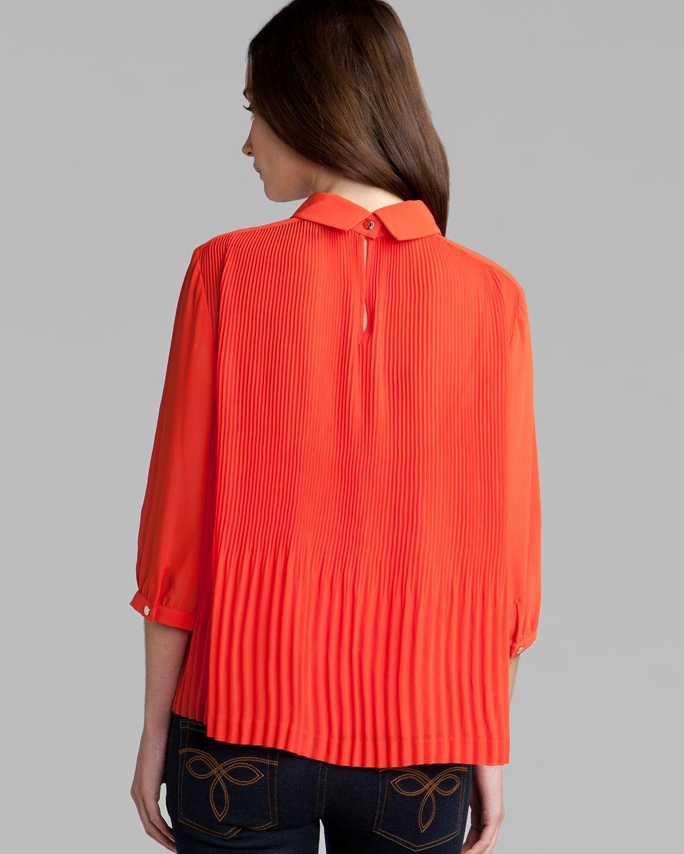 Orange Top With Umbrella Sleeves The Vanca: Ted Baker Top Diemos Pleats In Orange
