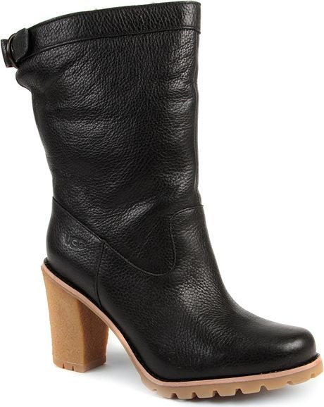 ugg coralie leather ankle boots in black lyst