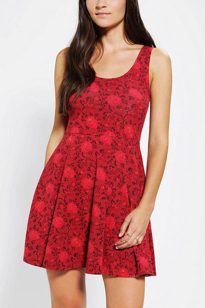 Urban Outfitters Ecote Boho Print Knit Skater Dress in Black (RED MULTI) Lyst
