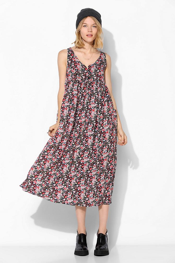 1536ab407c Urban Outfitters Urban Renewal Babydoll Maxi Dress in Black - Lyst