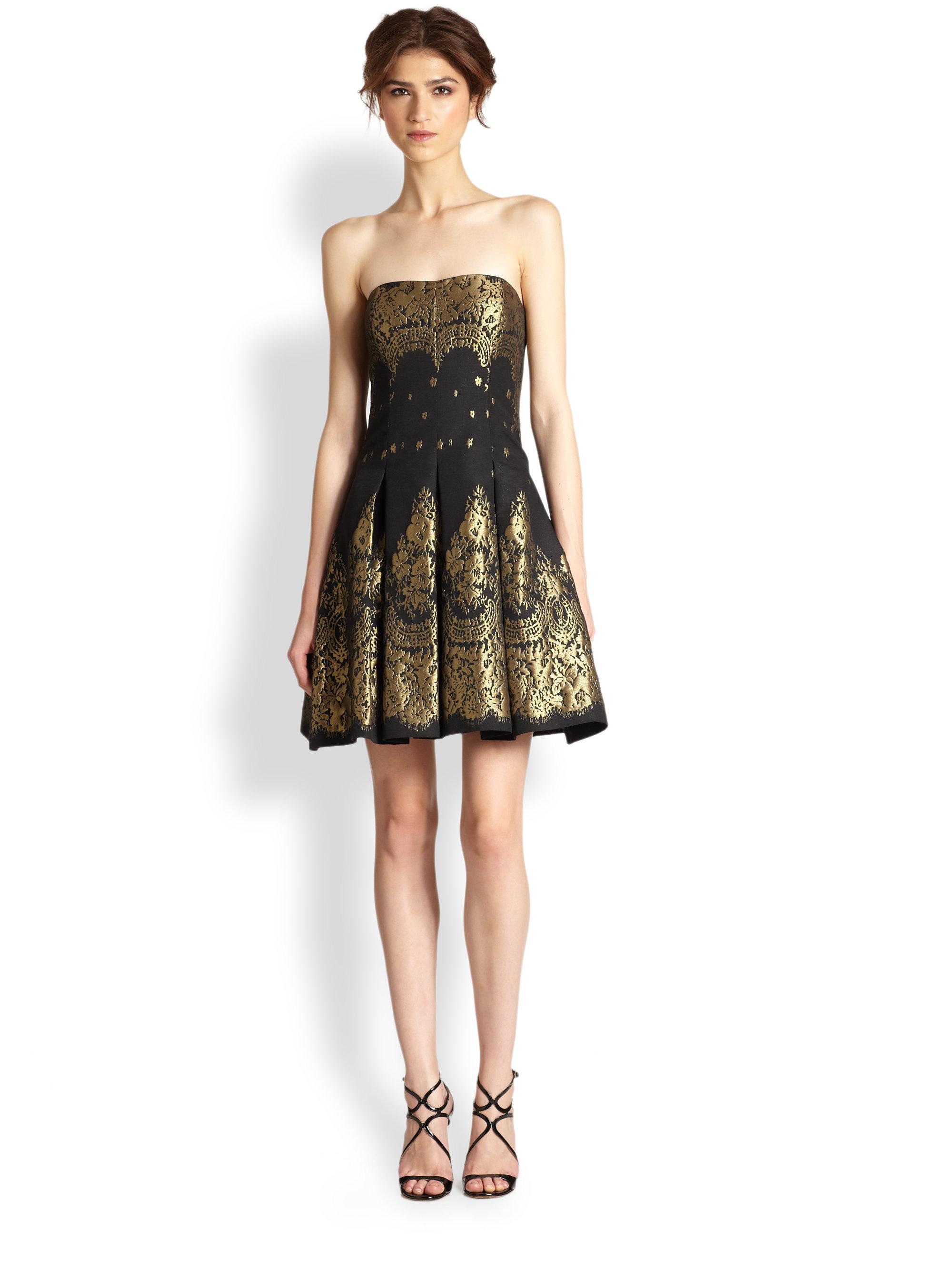 Lyst Aidan Mattox Strapless Brocade Dress In Black