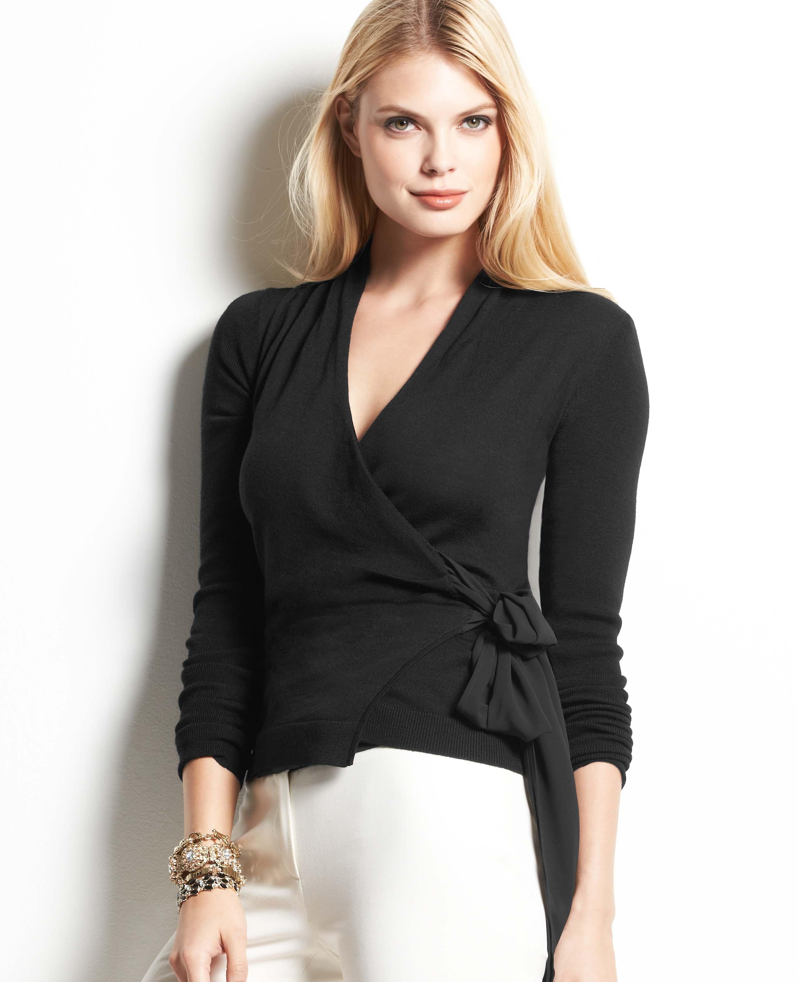 4e3cc43b51 Ann Taylor Merino Wool Wrap Sweater in Black - Lyst