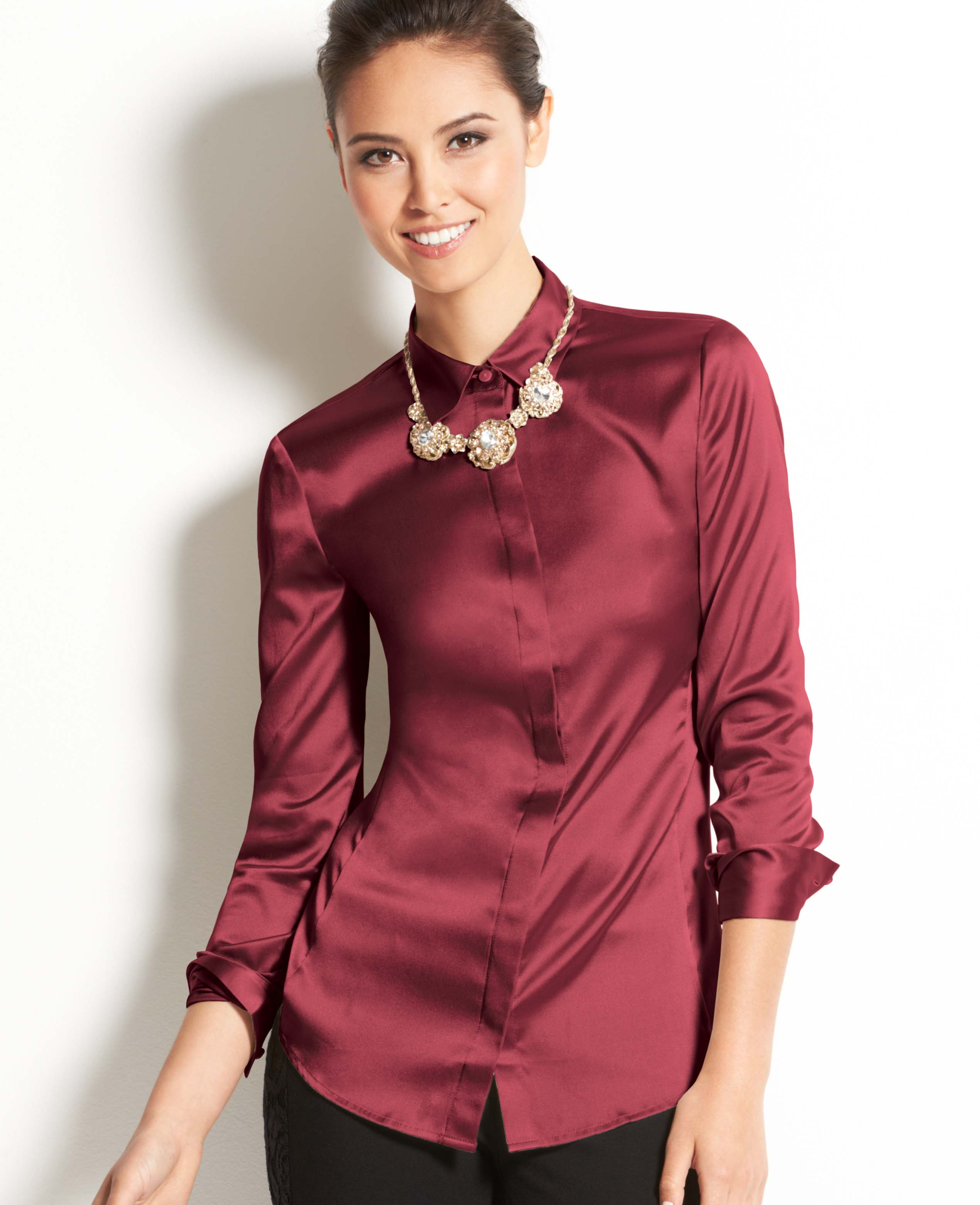f081733e2cd493 Lyst - Ann Taylor Silk Legacy Blouse in Red