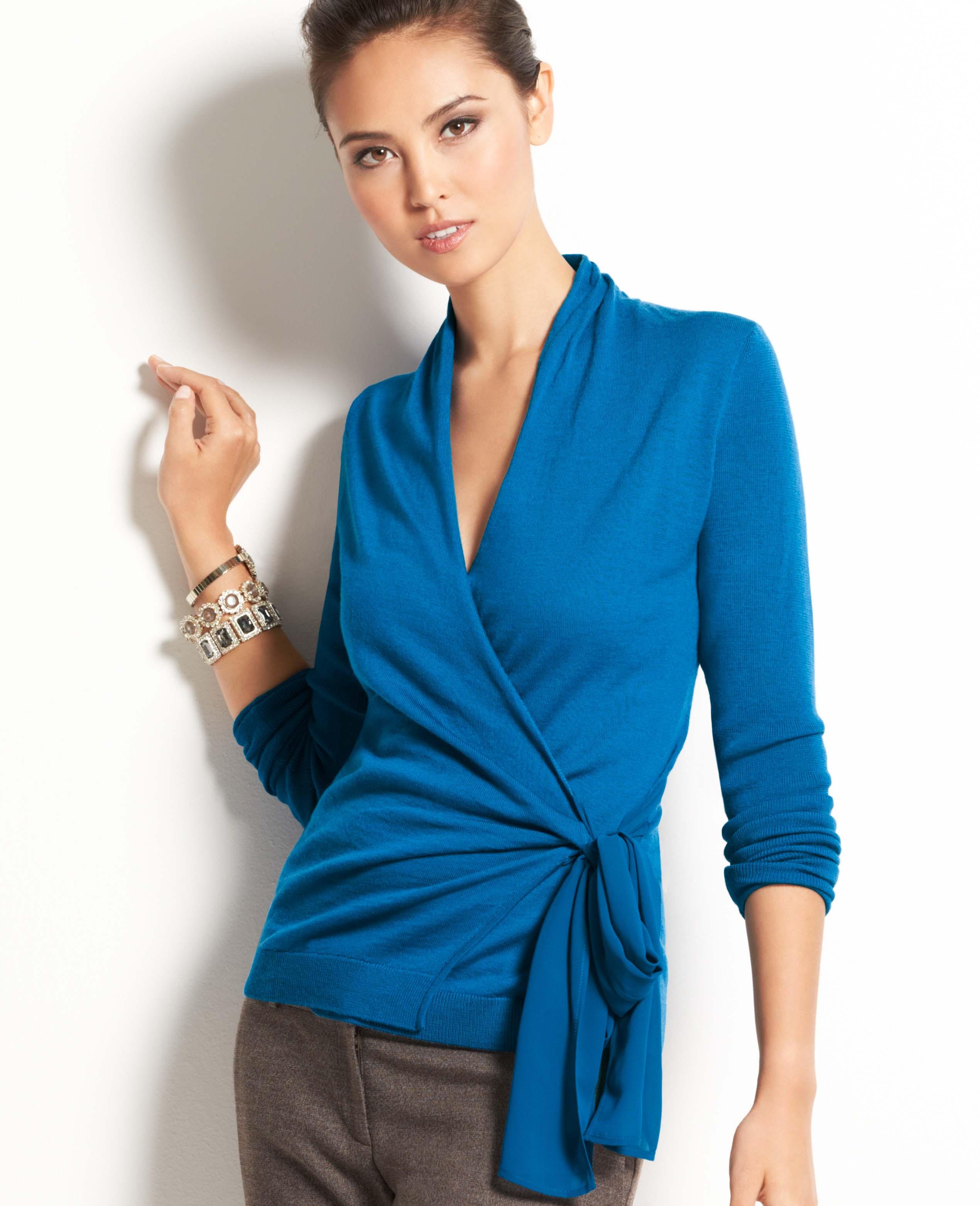 Ann taylor Merino Wool Wrap Sweater in Blue | Lyst