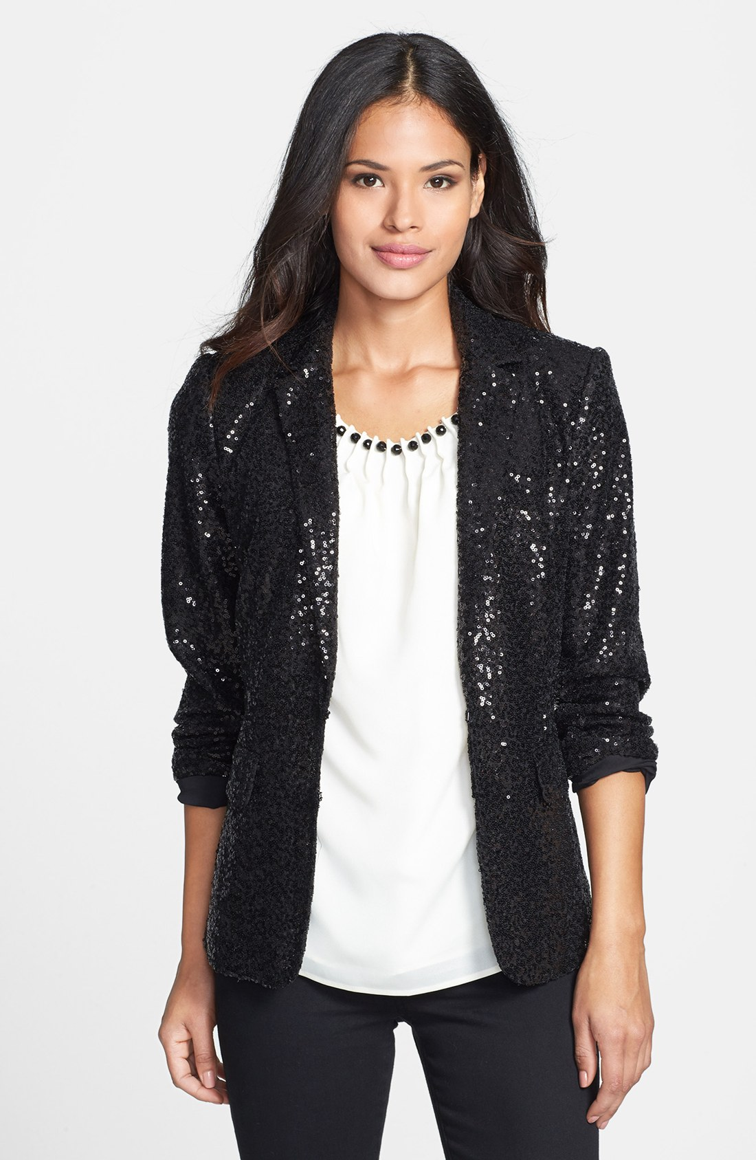 Anne klein Sequin Blazer in Black | Lyst