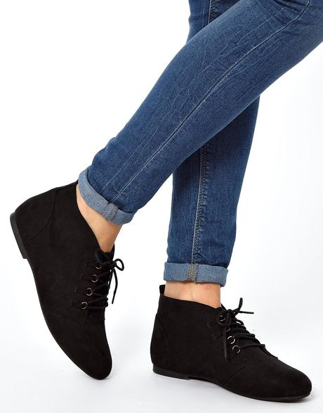 asos lace up flat ankle boots in black lyst