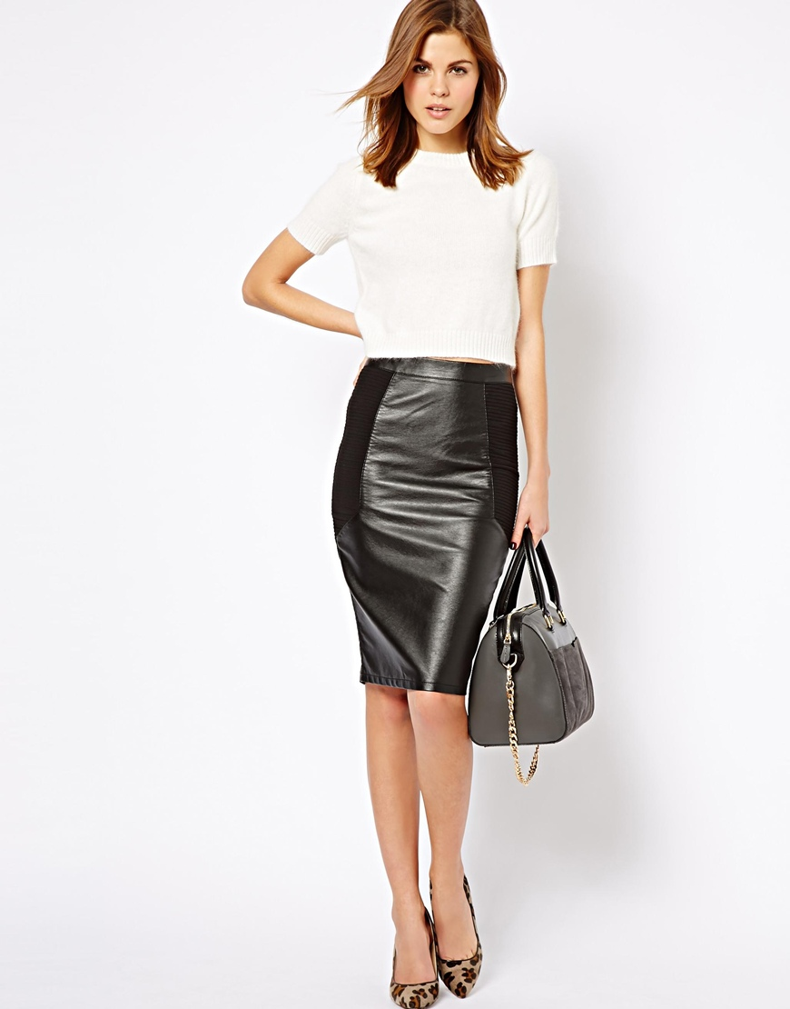 1e0b3c4be5 ASOS Warehouse Leather Look Mix Pencil Skirt in Black - Lyst