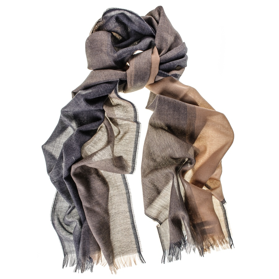 Black.co.uk Grey and Camel Merino Wool Scarf in Gray for Men | Lyst