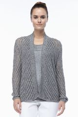 Eileen Fisher Cotton Twist Openweave Cardigan - Lyst