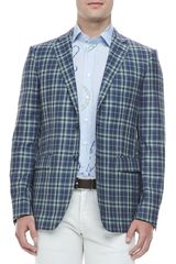 Etro Twobutton Plaid Blazer Bluegreen - Lyst