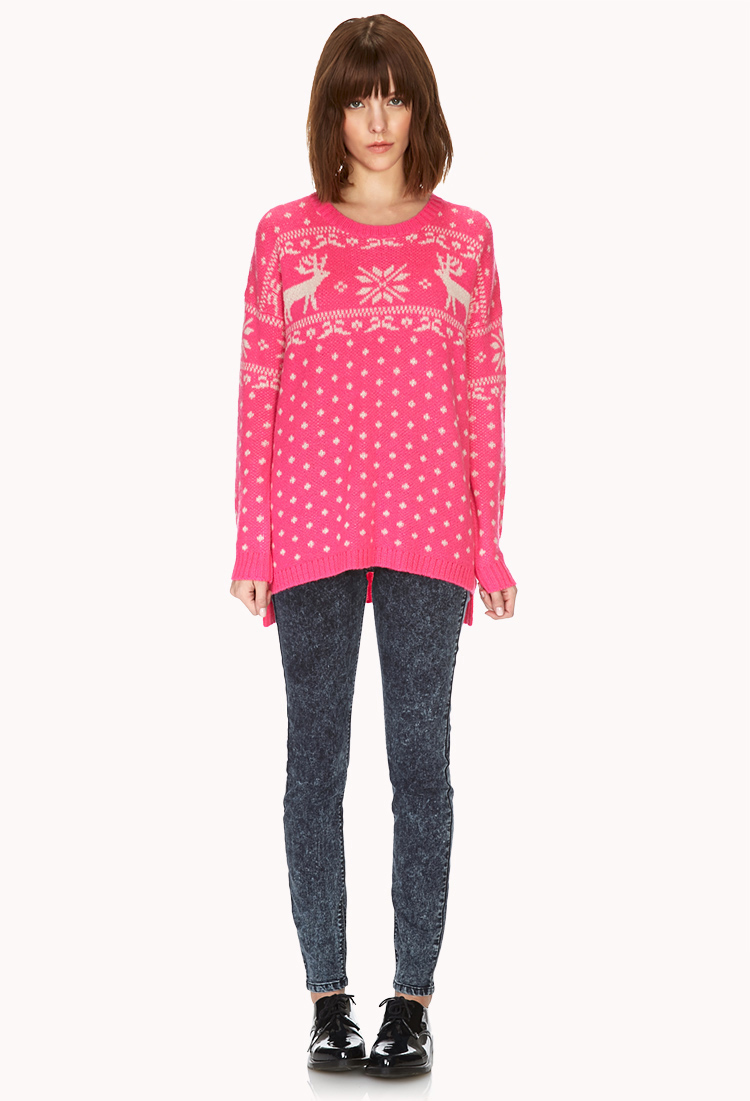 Forever 21 Reindeer Holiday Sweater in Pink | Lyst
