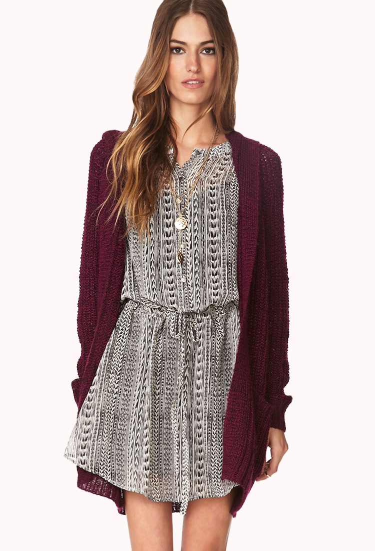 Forever 21 Cozy Hooded Open-knit Cardigan in Purple | Lyst