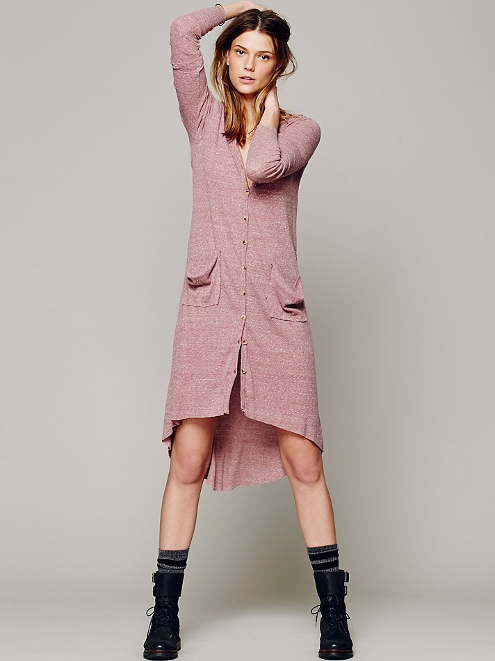 Free people Ribbed Up Maxi Cardigan in Pink | Lyst