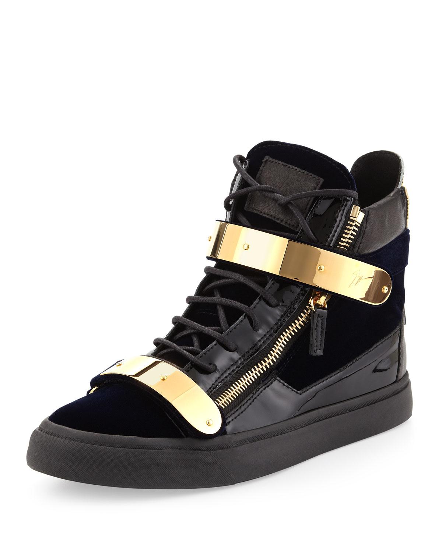 giuseppe zanotti velvet hitop sneaker with gold strap navy in blue for men navy lyst. Black Bedroom Furniture Sets. Home Design Ideas