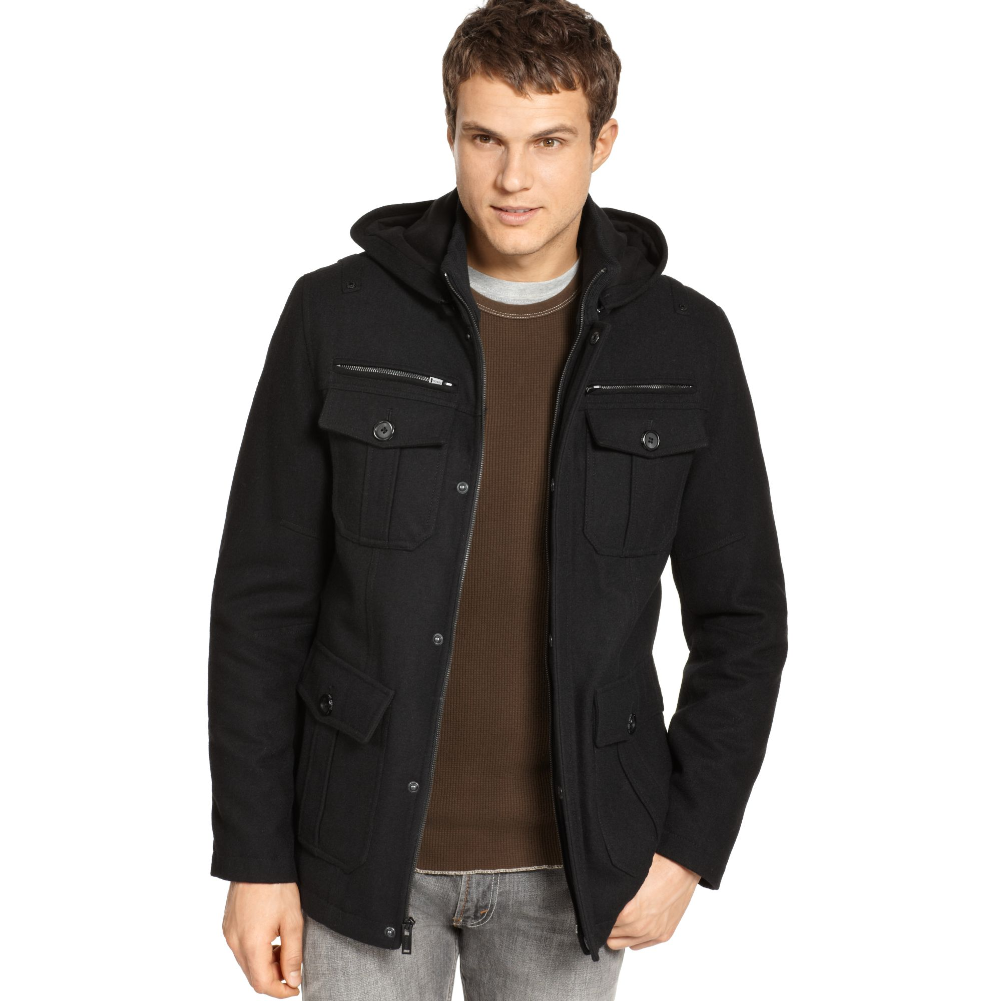 Guess Coats Military Style Hooded Pea Coat in Black for Men | Lyst