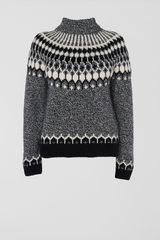 Jaeger Roll Neck Intarsia Sweater - Lyst