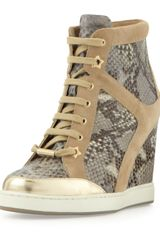 Jimmy Choo Panama Snakeprint Wedge Sneaker - Lyst