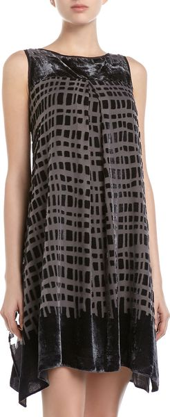 Muse Patterned Velour Shift Dress Blackgray - Lyst
