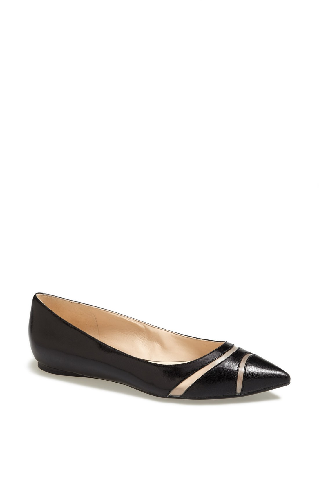 nine west auro pointy toe flat in black black leather lyst
