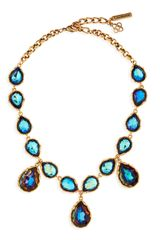Oscar de la Renta Large Crystal Teardrop Necklace Indigo - Lyst