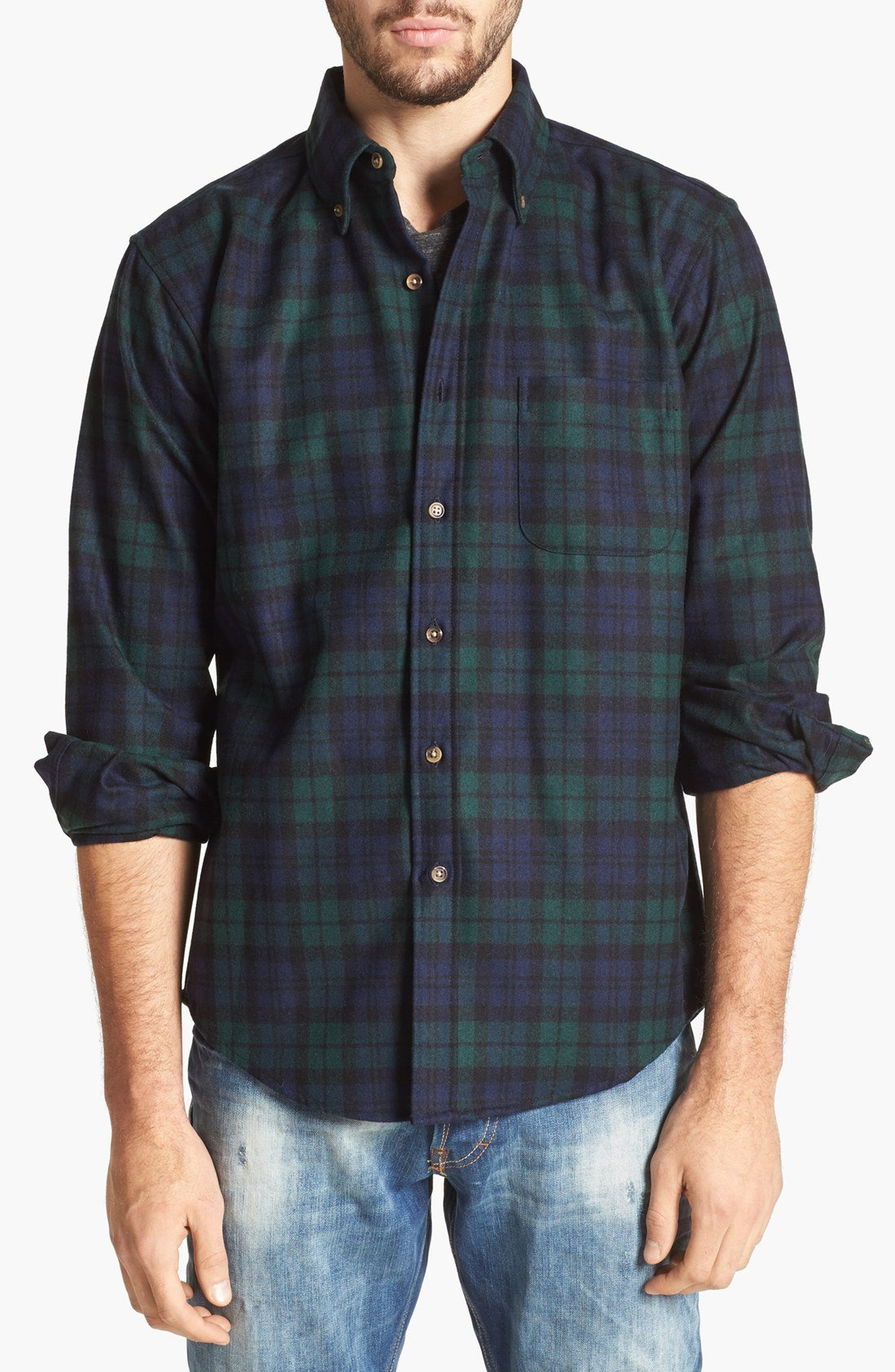 Pendleton fireside fitted plaid wool flannel in green for for Black watch plaid flannel shirt