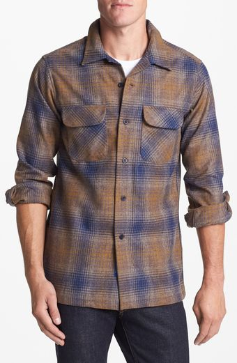 Pendleton Board Fitted Plaid Wool Flannel Shirt - Lyst
