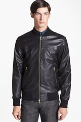 PS by Paul Smith Leather Bomber Jacket - Lyst