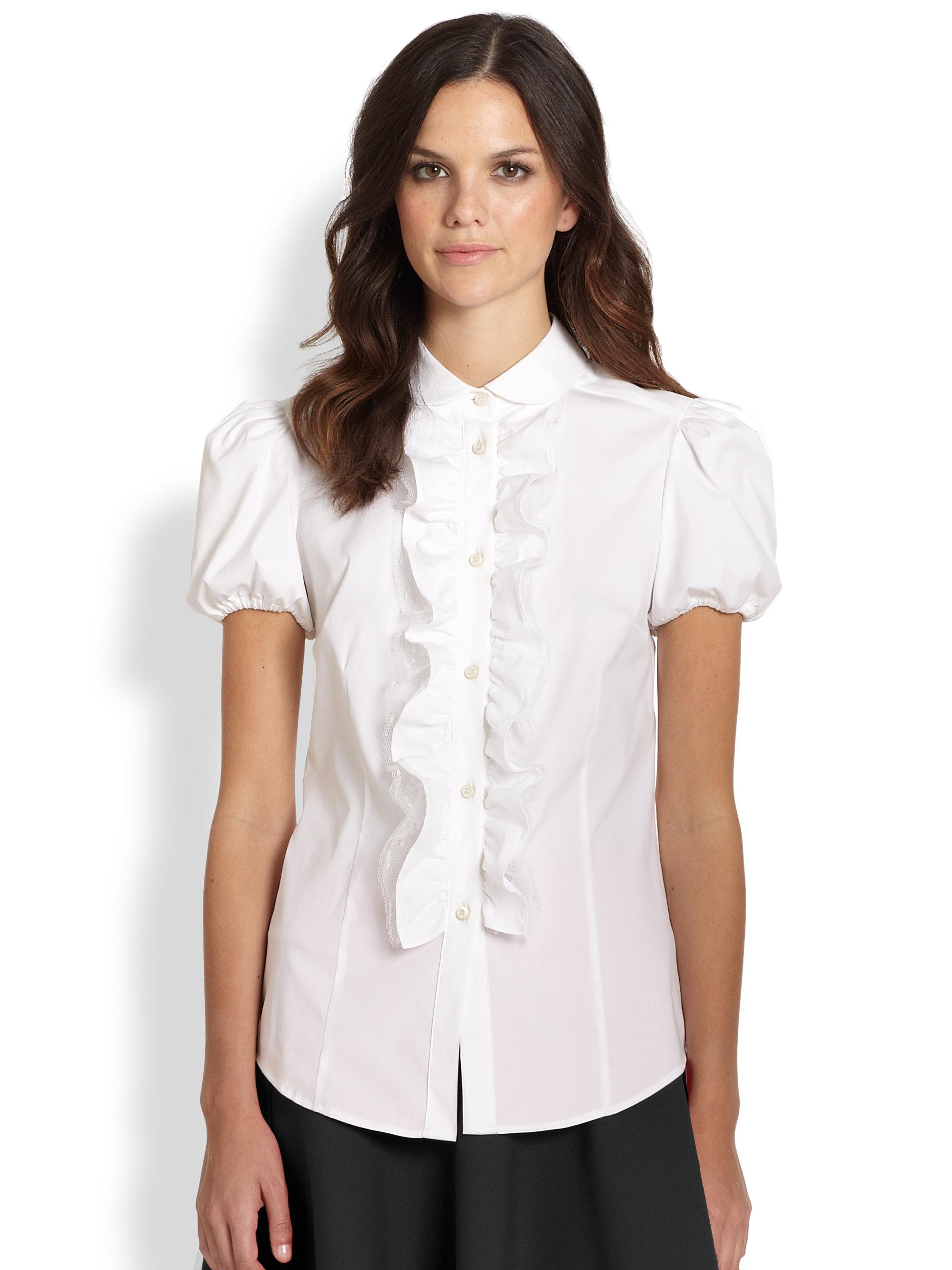 White Short Sleeve Ruffle Blouse - Peach Chevron Blouse