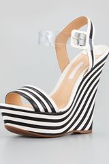 Schutz Erann Striped Leather Wedge - Lyst