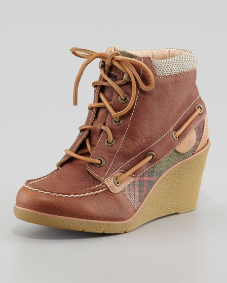 sperry top sider baily laceup wedge boot in brown lyst