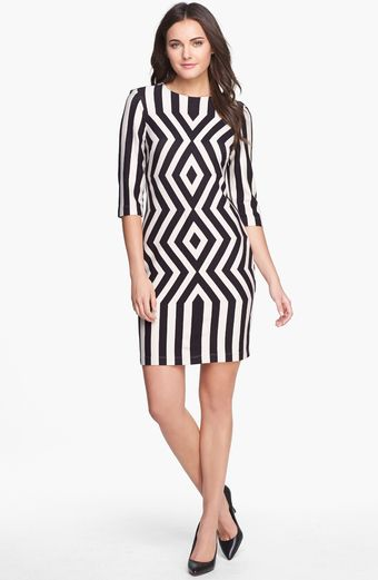 Taylor Dresses Print Ponte Sheath Dress - Lyst