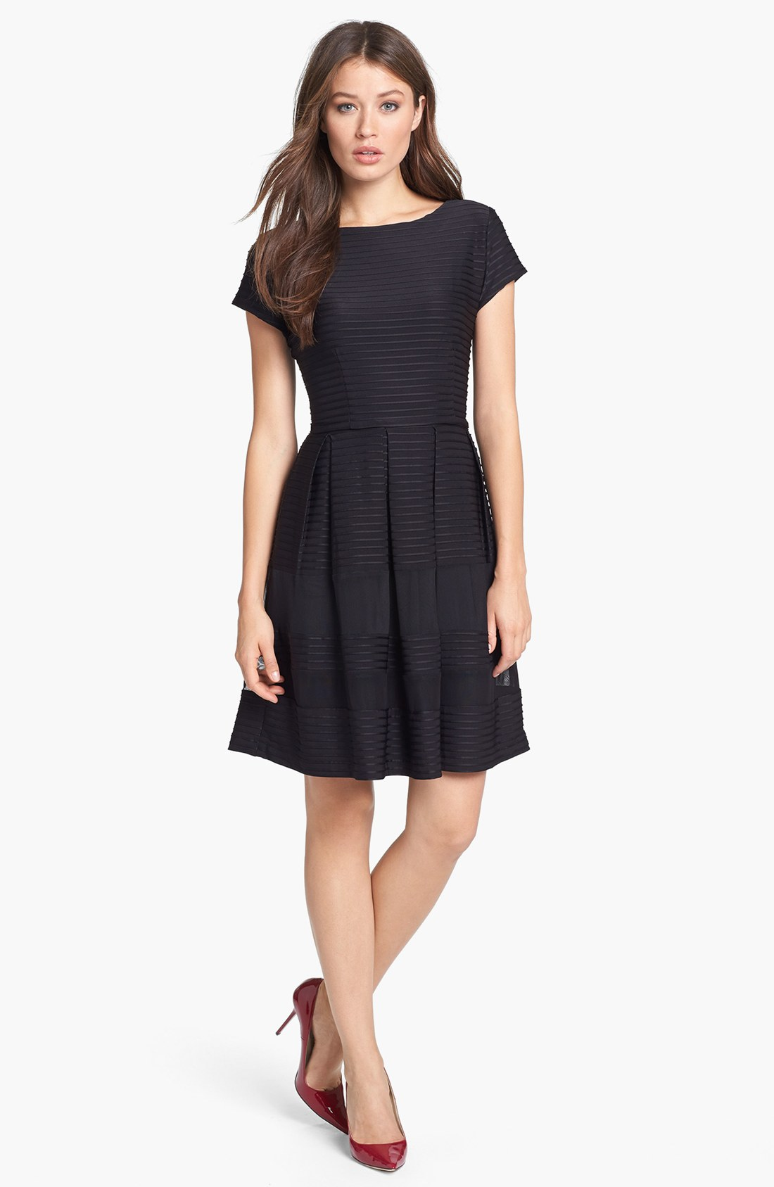 Taylor Dresses Pintuck Fit Flare Dress In Black Lyst