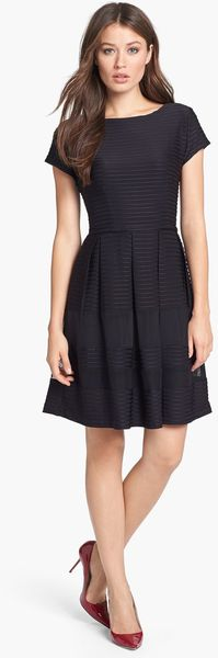 Taylor Dresses Pintuck Fit Flare Dress - Lyst