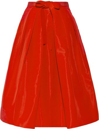 Tibi Pleated Silk Faille Skirt - Lyst