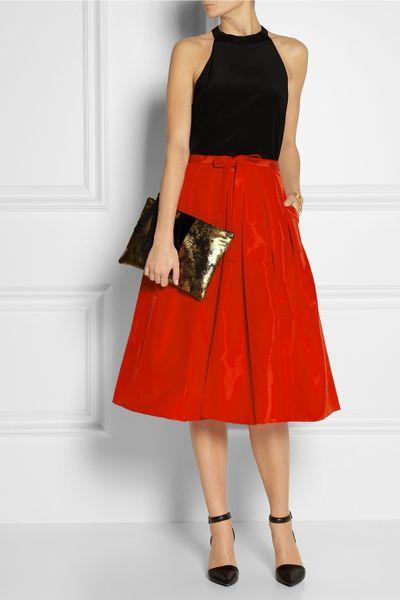 tibi pleated silk faille skirt in lyst