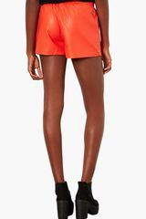 Topshop Perforated Faux Leather Shorts - Lyst