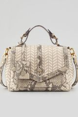 Tory Burch 797 Medium Raffia Snakeprint Satchel Bag Natural - Lyst