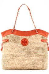 Tory Burch Marion Chainstrap Straw Tote Naturalblue - Lyst
