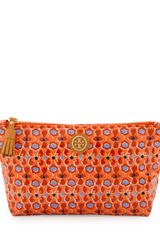 Tory Burch Printed Small Slouchy Cosmetic Bag Tiger Lily Mosaic - Lyst