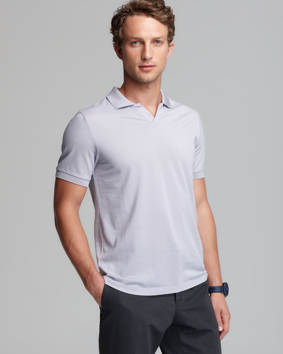 Lyst Vince Johnny Collar Fine Pique Slim Polo In Gray