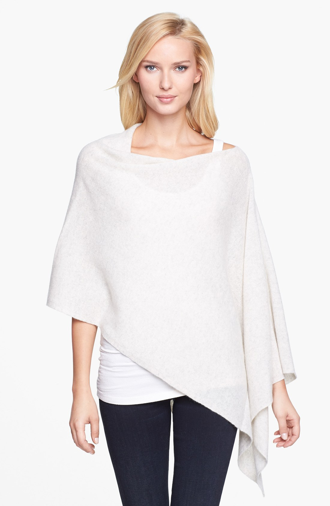 White + Warren Asymmetrical Cashmere Poncho in White ...