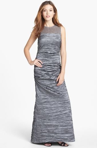 Alex Evenings Illusion Yoke Taffeta Gown - Lyst