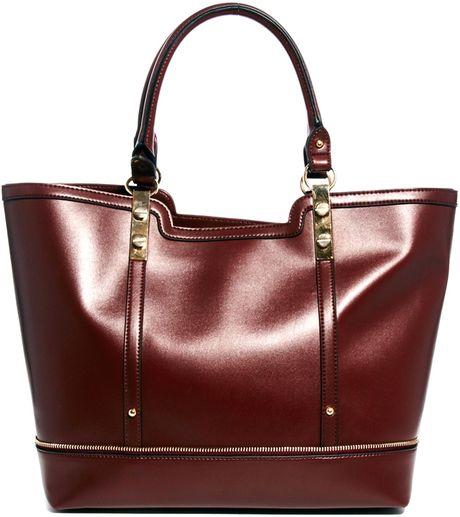 Asos New Look Lolly Zip Edge Detail Tote Bag in Purple (Burgundy)