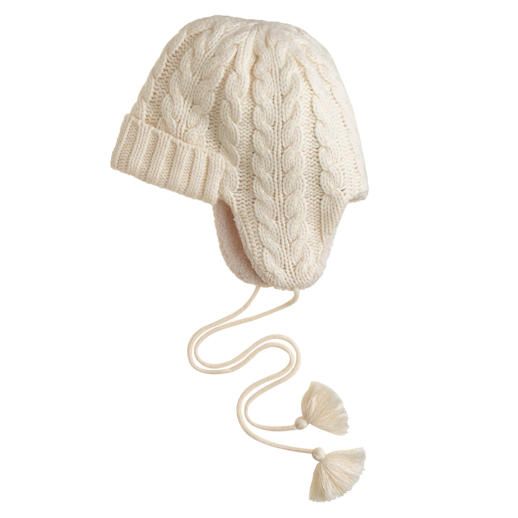 80faa19ebc007 Lyst - J.Crew Cableknit Trapper Hat in White