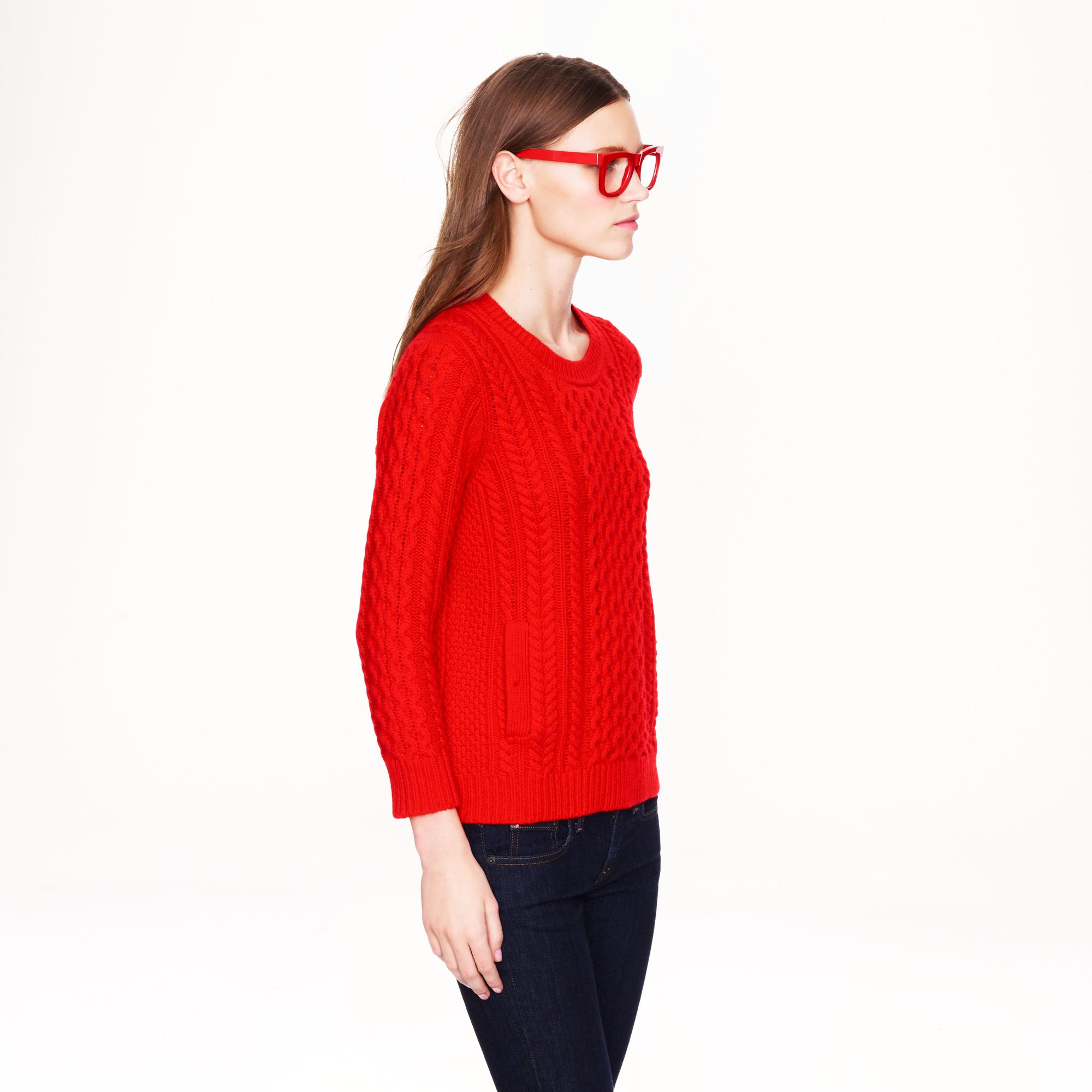 J.crew Cable Knit Pocket Sweater in Red | Lyst
