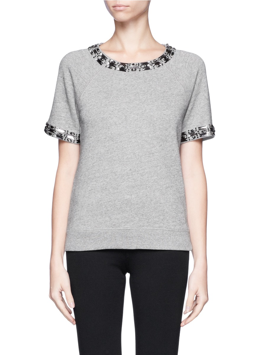 J.crew Jeweled Short-sleeve Sweatshirt in Gray | Lyst