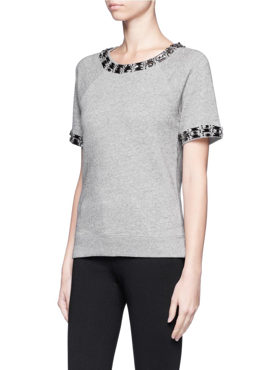 J.crew Jeweled Short-sleeve Sweatshirt in Gray | Lyst