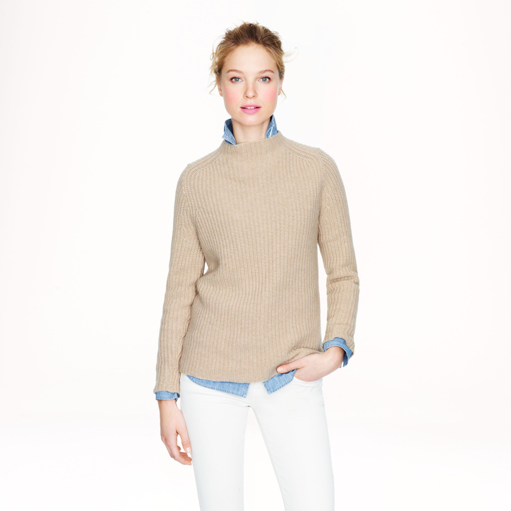Lyst j crew collection cashmere ribbed backzip sweater for Jcrew com